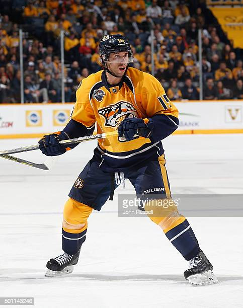 Craig Smith of the Nashville Predators skates against the Chicago Blackhawks during an NHL game at Bridgestone Arena on December 10 2015 in Nashville...