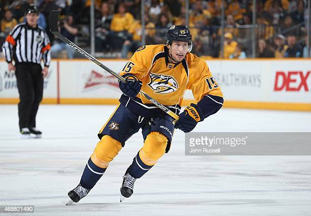 Craig Smith of the Nashville Predators skates against the Dallas Stars during an NHL game at Bridgestone Arena on April 4 2015 in Nashville Tennessee