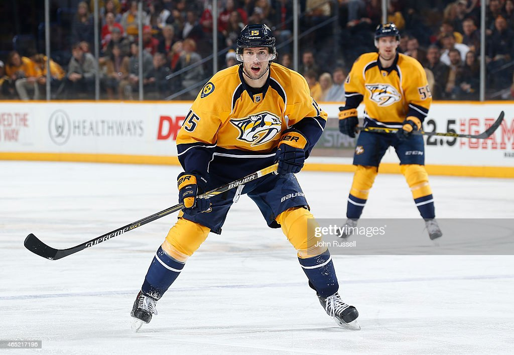 Craig Smith #15 of the Nashville Predators skates against the Detroit Red Wings during an NHL game at Bridgestone Arena on February 28, 2015 in Nashville, Tennessee.