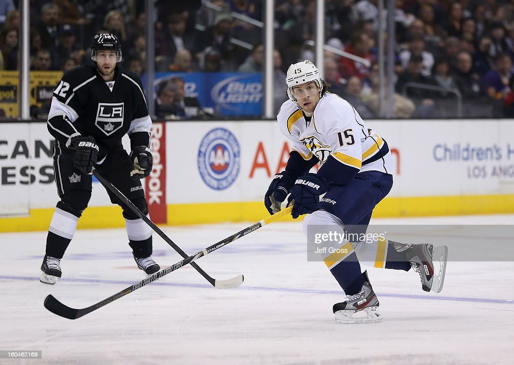 Craig Smith #15 of the Nashville Predators skates against the Los Angeles Kings at Staples Center on January 31, 2013 in Los Angeles, California.