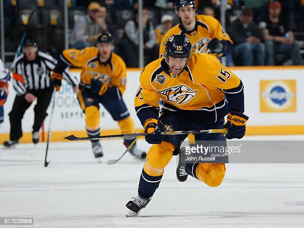 Craig Smith of the Nashville Predators skates against the New York Islanders during an NHL game at Bridgestone Arena on March 17 2016 in Nashville...