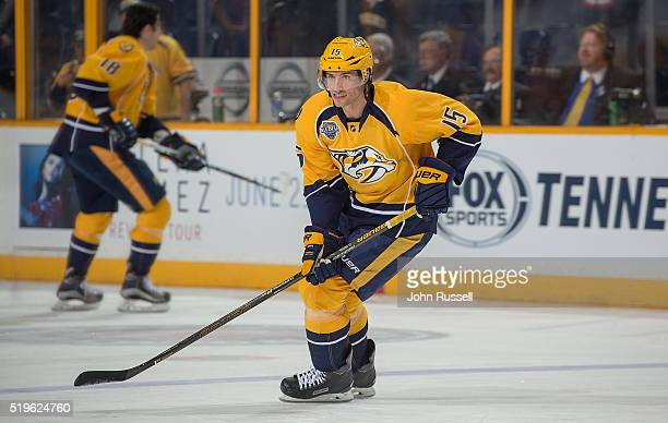 Craig Smith of the Nashville Predators skates in warmups prior to an NHL game against the San Jose Sharks at Bridgestone Arena on April 2 2016 in...