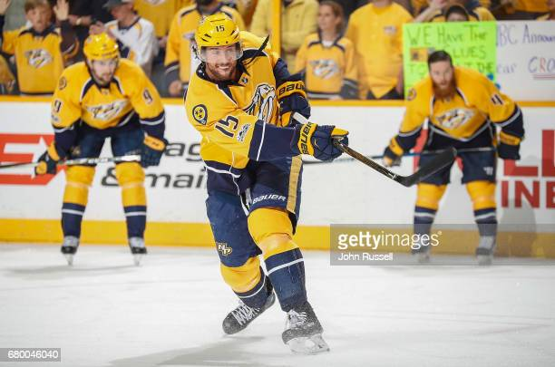 Craig Smith of the Nashville Predators skates in warmups prior to Game Six of the Western Conference Second Round against the St Louis Blues during...