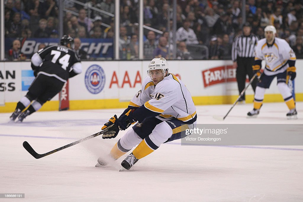 Craig Smith #15 of the Nashville Predators skates on the forecheck during the NHL game against the Los Angeles Kings at Staples Center on November 2, 2013 in Los Angeles, California.