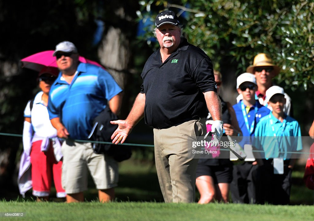 <a gi-track='captionPersonalityLinkClicked' href=/galleries/search?phrase=Craig+Stadler&family=editorial&specificpeople=211286 ng-click='$event.stopPropagation()'>Craig Stadler</a> reacts as his birdie chip attempt stops just on the edge of the 17th hole during the second round of the Shaw Charity Classic at the Canyon Meadows Golf and Country Club on August 30, 2014 in Calgary, Canada.