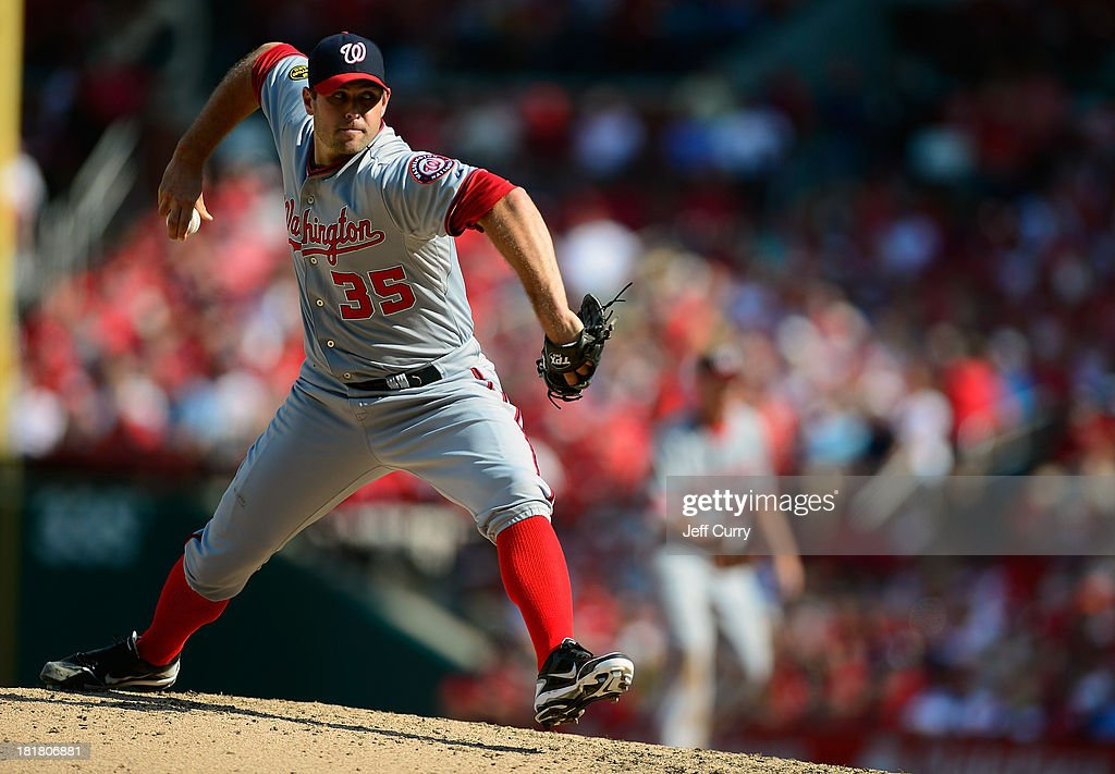 <a gi-track='captionPersonalityLinkClicked' href=/galleries/search?phrase=Craig+Stammen&family=editorial&specificpeople=5897564 ng-click='$event.stopPropagation()'>Craig Stammen</a> #35 of the Washington Nationals throws to a St. Louis Cardinals batter during the eighth inning at Busch Stadium on September 25, 2013 in St. Louis, Missouri. The Cardinals won 4-1 to sweep the Nationals.