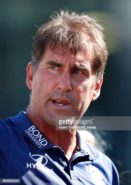 Craig Starcevich Senior Coach of the Lions addresses his players during the 2017 AFLW Round 07 match between the Carlton Blues and the Brisbane Lions...