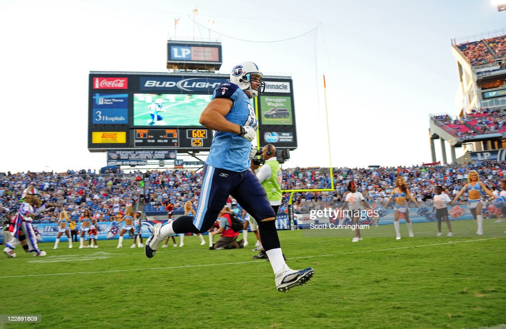 Craig Stevens #88 of the Tennessee Titans is introduced before a preseason game against the Chicago Bears at LP Field on August 27, 2011 in Nashville, Tennessee.