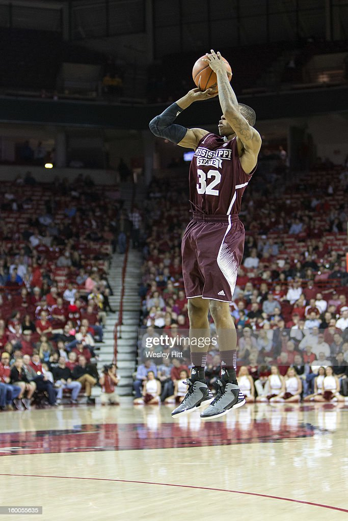 Craig Sword #32 of the Mississippi State Bulldogs shoots a jump shot against the Arkansas Razorbacks at Bud Walton Arena on January 23, 2013 in Fayetteville, Arkansas. The Razorbacks defeated the Bulldogs 96-70.