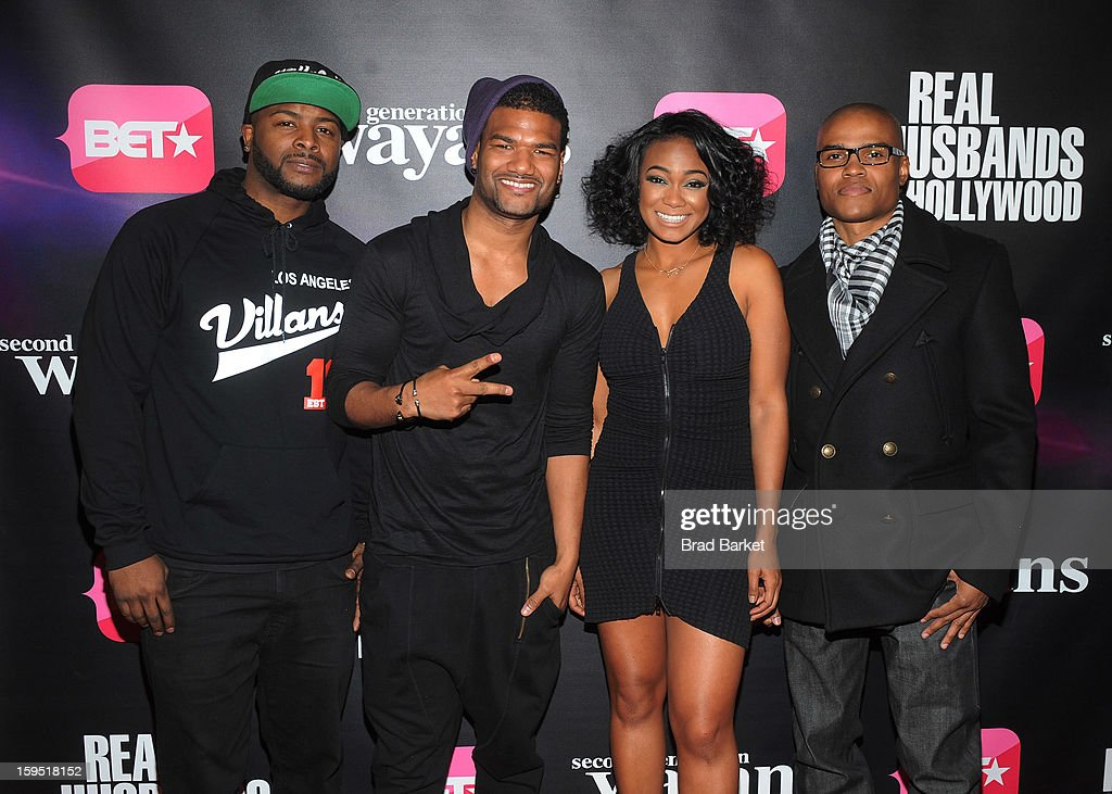 Craig Wayans, <a gi-track='captionPersonalityLinkClicked' href=/galleries/search?phrase=Damien+Dante+Wayans&family=editorial&specificpeople=764721 ng-click='$event.stopPropagation()'>Damien Dante Wayans</a>, Tatyana Ali and George O. Gore attend BET Networks New York Premiere Of 'Real Husbands of Hollywood' And 'Second Generation Wayans' at SVA Theater on January 14, 2013 in New York City.