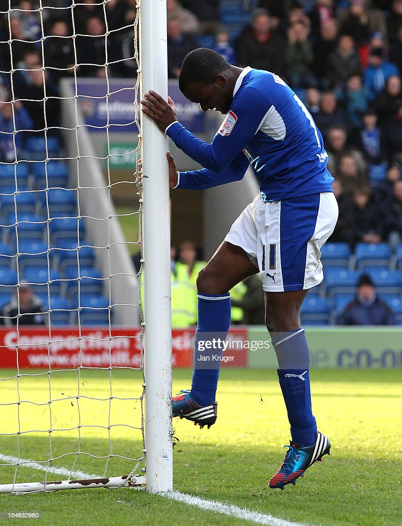 Craig Westcarr of Chesterfield kicks at the goal post after scuffing a shot at goal during the npower League Two match between Chesterfield and Barnet at Proact Stadium on October 27, 2012 in Chesterfield, England.