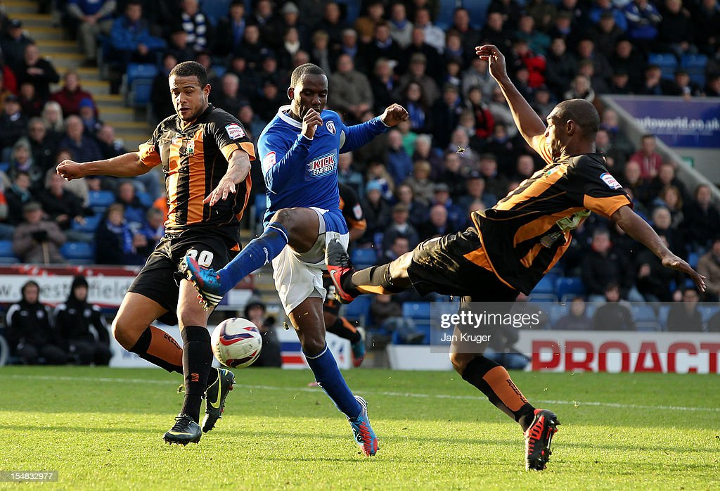 Craig Westcarr of Chesterfield scuffs a shot at goal during the npower League Two match between Chesterfield and Barnet at Proact Stadium on October 27, 2012 in Chesterfield, England.