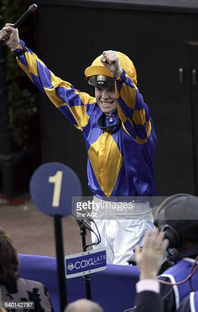 Craig Williams celebrates after winning the Cox Plate on the David Hayes trained Fields of Omagh on 28 October 2006 THE AGE SPORT Picture by KEN IRWIN