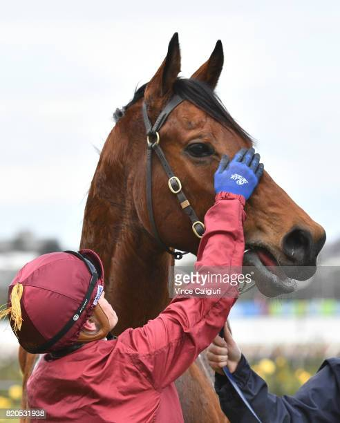 Craig Williams poses with Portman after winning Race 4 during Melbourne Racing at Flemington Racecourse on July 22 2017 in Melbourne Australia