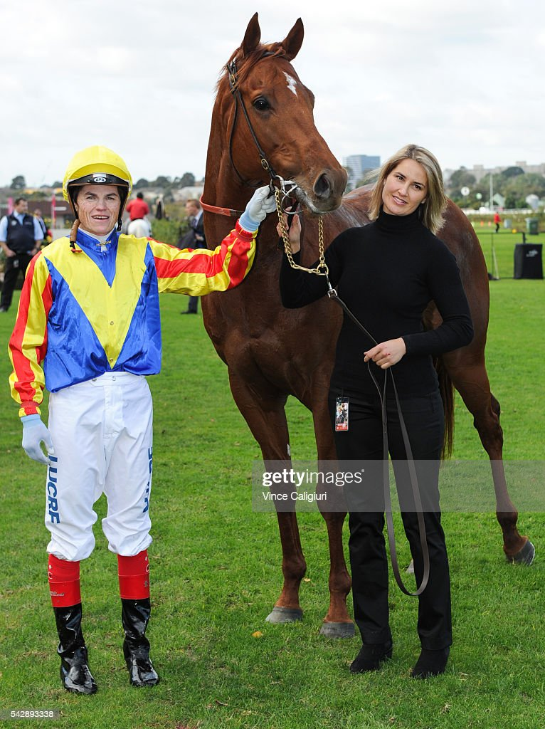 <a gi-track='captionPersonalityLinkClicked' href=/galleries/search?phrase=Craig+Williams+-+Jockey&family=editorial&specificpeople=4499103 ng-click='$event.stopPropagation()'>Craig Williams</a> poses with Tammy Blair (strapper) after riding Spieth to win Race 4, during Melbourne Racing at Flemington Racecourse on June 25, 2016 in Melbourne, Australia.