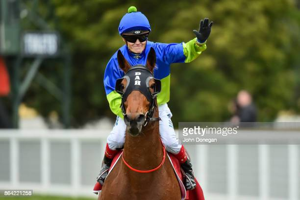 Craig Williams returns to the mounting yard aboard Fuhryk after winning the Carlton Draught Alinghi Stakes at Caulfield Racecourse on October 21 2017...