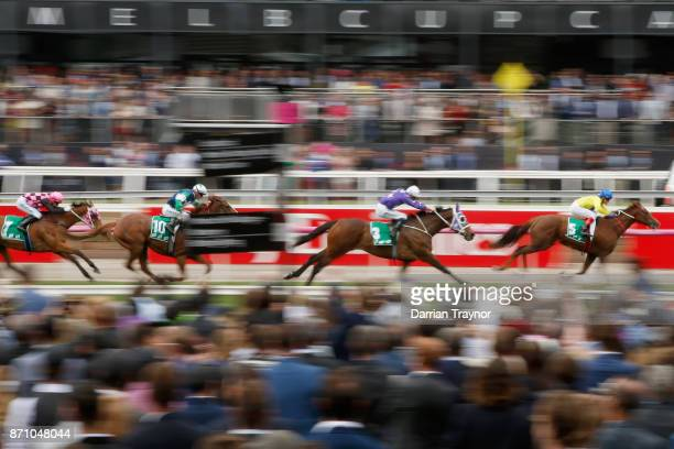 Craig Williams rides Tahanee to win race 2 the TABcomau Trophy during Melbourne Cup Day at Flemington Racecourse on November 7 2017 in Melbourne...