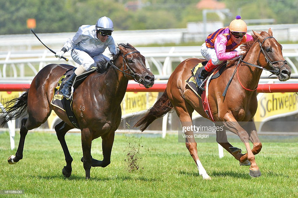 Craig Williams riding Adebisi wins the Schweppes Rubiton Stakes from <a gi-track='captionPersonalityLinkClicked' href=/galleries/search?phrase=Glen+Boss&family=editorial&specificpeople=194758 ng-click='$event.stopPropagation()'>Glen Boss</a> riding Rescue Mission during Melbourne Racing at Caulfield Racecourse on February 9, 2013 in Melbourne, Australia.