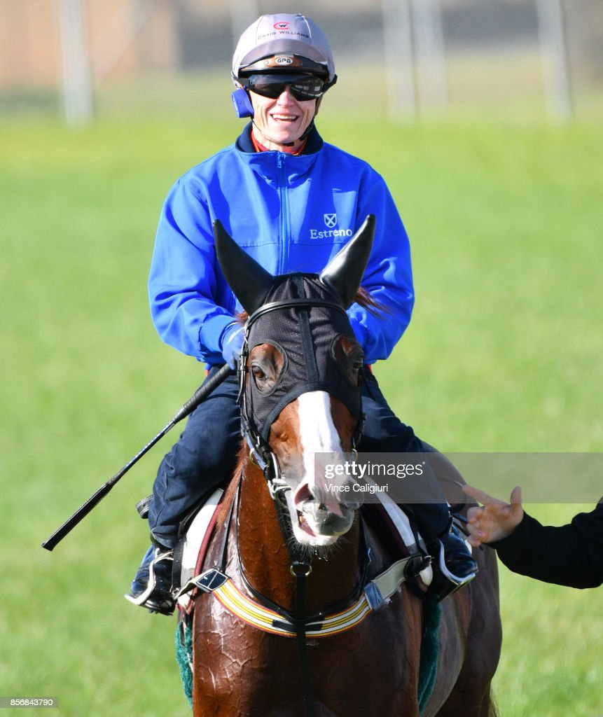 Craig Williams riding Admire Deus from Japan after a trackwork session at Werribee Racecourse on October 3, 2017 in Melbourne, Australia.