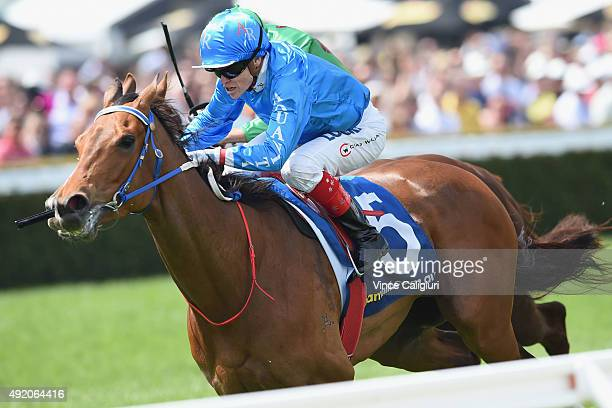 Craig Williams riding Alpha Miss wins Race 2 Schillaci Stakes during Caulfield Guineas Day at Caulfield Racecourse on October 10 2015 in Melbourne...