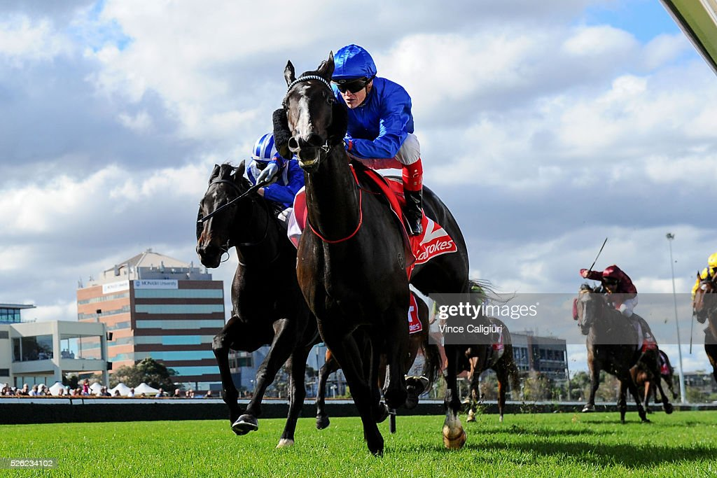 Craig Williams riding Antelucan wins Race 1 during Melbourne Racing at Caulfield Racecourse on April 30, 2016 in Melbourne, Australia.