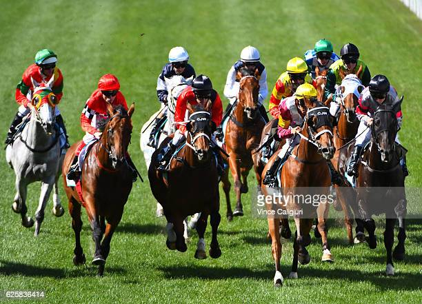 Craig Williams riding Boom Time before winning Race7 during Melbourne racing at Moonee Valley Racecourse on November 26 2016 in Melbourne Australia