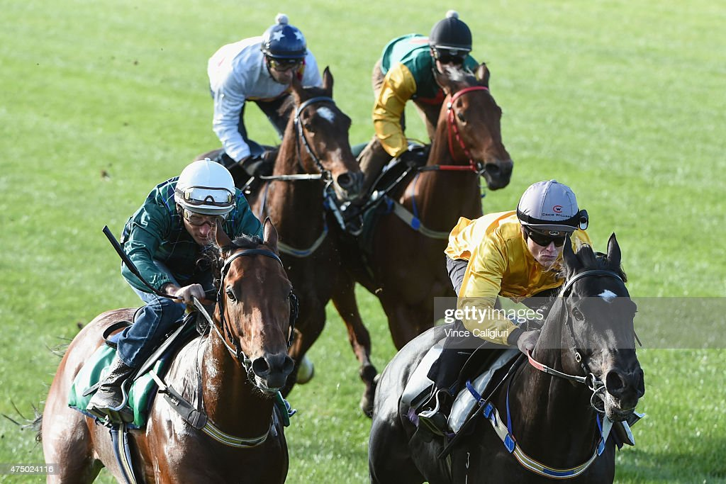 <a gi-track='captionPersonalityLinkClicked' href=/galleries/search?phrase=Craig+Williams+-+Jockey&family=editorial&specificpeople=4499103 ng-click='$event.stopPropagation()'>Craig Williams</a> riding Brazen Beau defeats <a gi-track='captionPersonalityLinkClicked' href=/galleries/search?phrase=Damien+Oliver&family=editorial&specificpeople=210504 ng-click='$event.stopPropagation()'>Damien Oliver</a> riding Wandjina in a jump out down the straight course at Flemington Racecourse on May 29, 2015 in Melbourne, Australia.
