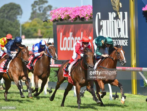 Craig Williams riding Catchy defeats Blake Shinn riding Pariah in Race 7 Blue Diamond Stakes during Melbourne Racing at Caulfield Racecourse on...