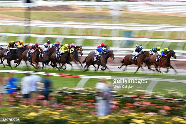 Craig Williams riding Domino Vitale wins Race 8 during Melbourne Racing at Flemington Racecourse on January 1 2017 in Melbourne Australia