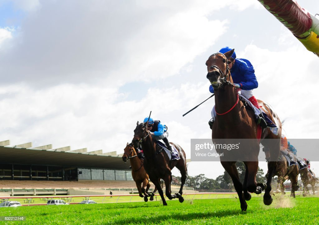 Craig Williams riding Esperance wins Race 1, during Melbourne Racing at Sandown Lakeside on August 16, 2017 in Melbourne, Australia.