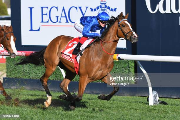 Craig Williams riding Hartnell wins Race 7 PB Lawrence Stakes during Melbourne Racing at Caulfield Racecourse on August 19 2017 in Melbourne Australia
