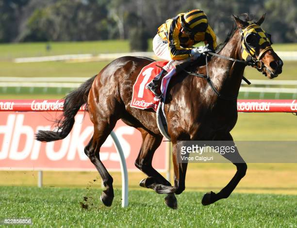 Craig Williams riding Indrigo wins Race 6 during Melbourne Racing at Sandown Hillside on July 26 2017 in Melbourne Australia