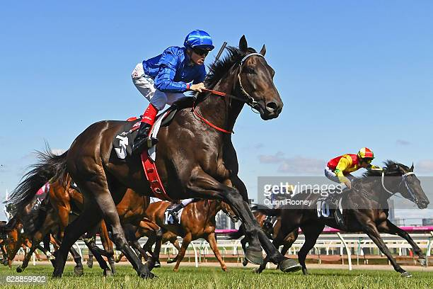Craig Williams riding Khaki wins Race 6 the Dorevitch Pathology Charity Plate during Melbourne Racing at Flemington Racecourse on December 10 2016 in...