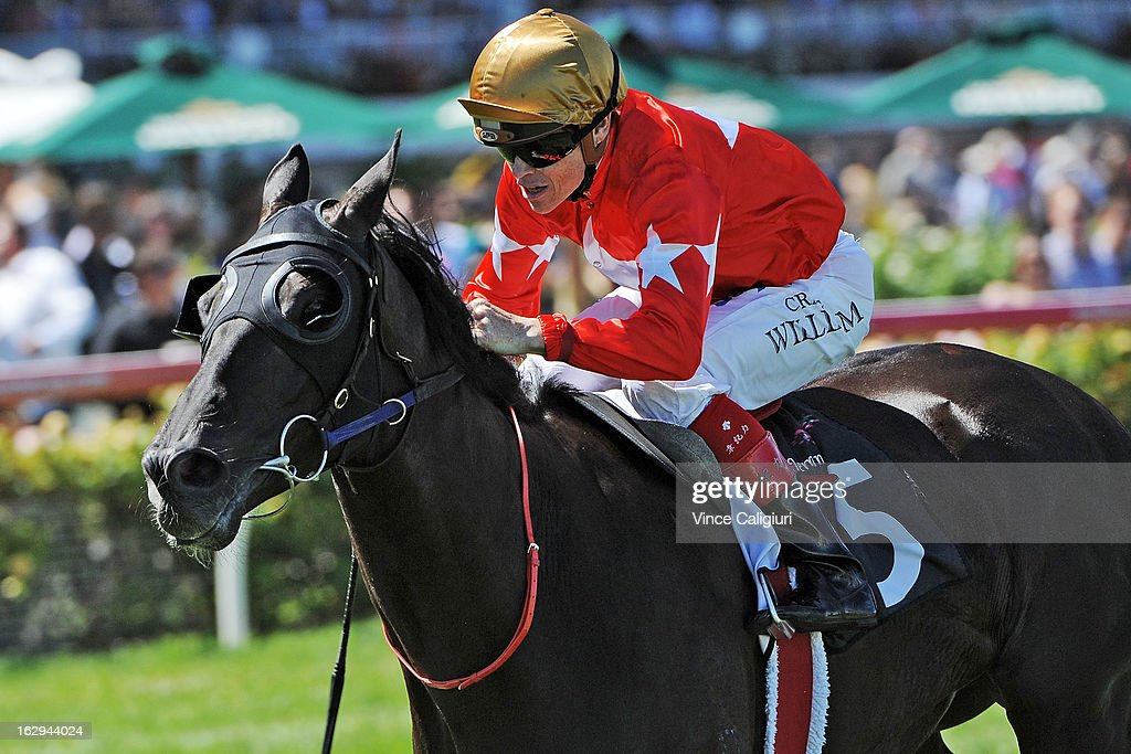 Craig Williams riding Kutchinsky wins the Roy Higgins Quality during Melbourne Racing at Flemington Racecourse on March 2, 2013 in Melbourne, Australia.
