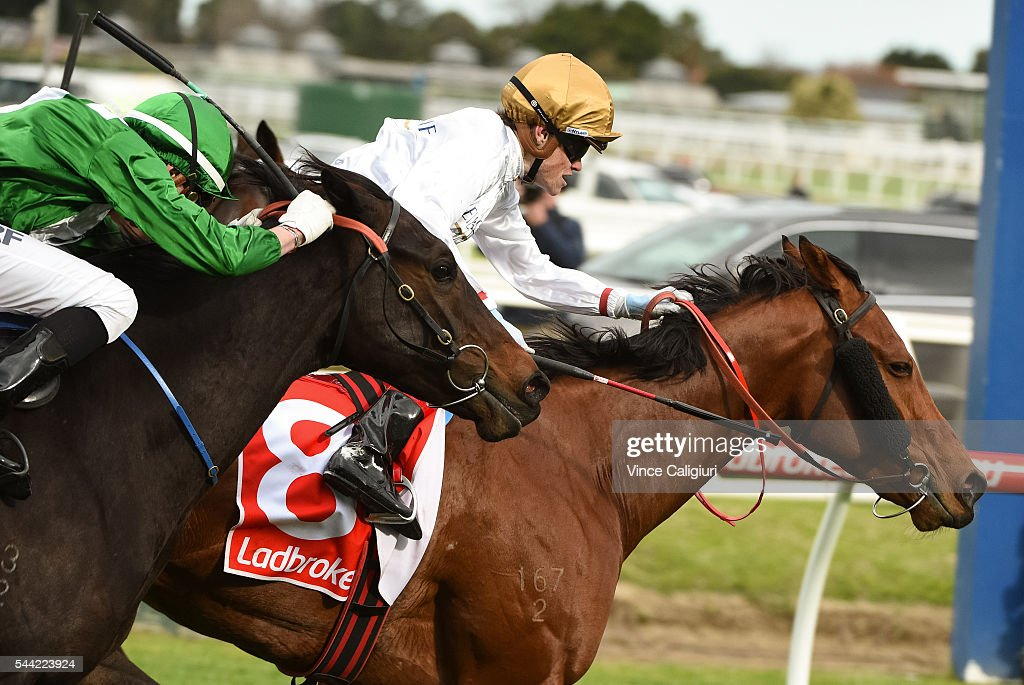 <a gi-track='captionPersonalityLinkClicked' href=/galleries/search?phrase=Craig+Williams+-+Jockey&family=editorial&specificpeople=4499103 ng-click='$event.stopPropagation()'>Craig Williams</a> riding Makatiti wins Race 4, during Melbourne Racing at Caulfield Racecourse on July 2, 2016 in Melbourne, Australia.
