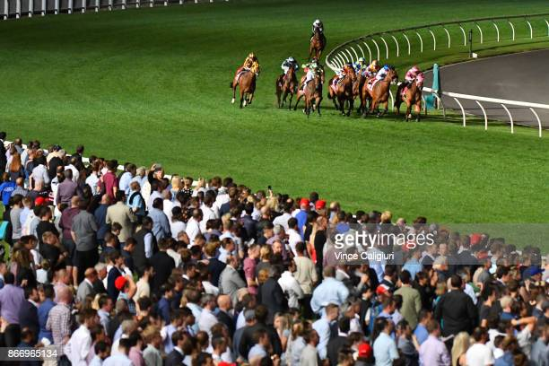 Craig Williams riding Mile High winning Race 5 during Manikato Stakes Night at Moonee Valley Racecourse on October 27 2017 in Melbourne Australia