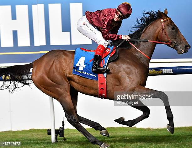 Craig Williams riding Noble Protector wins Race 6 the William Hill Sunline Stakes during Melbourne racing at Moonee Valley Racecourse on March 27...