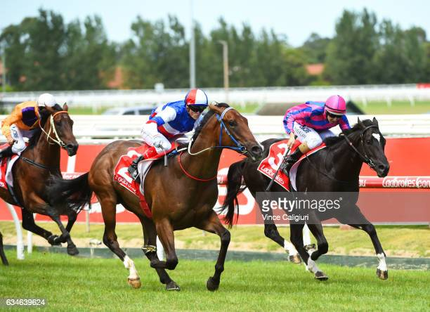Craig Williams riding Property defeats Damian Lane riding Wait for No One in Race 4 Blue Diamond Prelude during Melbourne Racing at Caulfield...