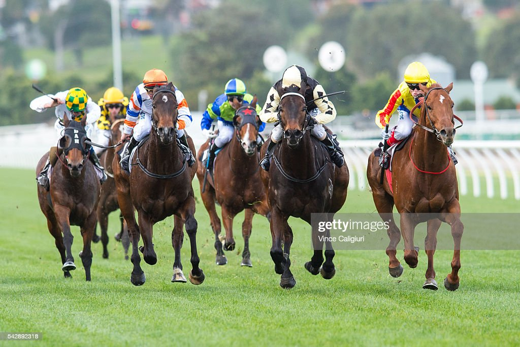 <a gi-track='captionPersonalityLinkClicked' href=/galleries/search?phrase=Craig+Williams+-+Jockey&family=editorial&specificpeople=4499103 ng-click='$event.stopPropagation()'>Craig Williams</a> riding Spieth (R) wins Race 4, during Melbourne Racing at Flemington Racecourse on June 25, 2016 in Melbourne, Australia.
