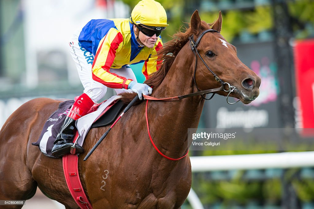 <a gi-track='captionPersonalityLinkClicked' href=/galleries/search?phrase=Craig+Williams+-+Jockey&family=editorial&specificpeople=4499103 ng-click='$event.stopPropagation()'>Craig Williams</a> riding Spieth wins Race 4, during Melbourne Racing at Flemington Racecourse on June 25, 2016 in Melbourne, Australia.