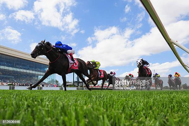 Craig Williams riding Tally wins Race 4 Ladbrokes Caulfield Autumn Classic during Melbourne Racing at Caulfield Racecourse on February 27 2016 in...