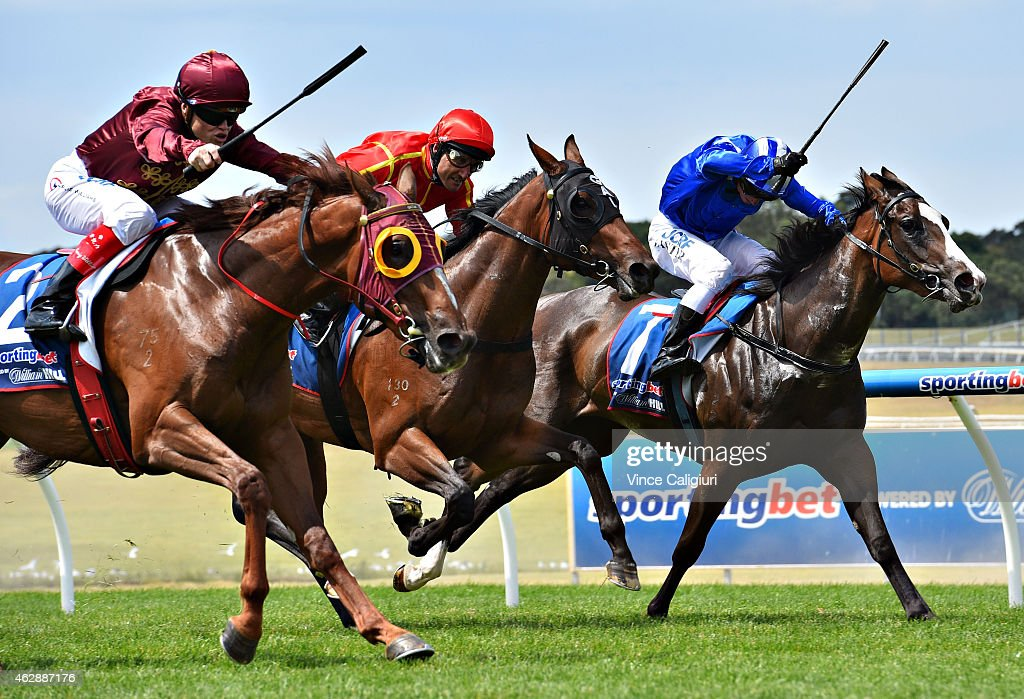 <a gi-track='captionPersonalityLinkClicked' href=/galleries/search?phrase=Craig+Williams+-+Jockey&family=editorial&specificpeople=4499103 ng-click='$event.stopPropagation()'>Craig Williams</a> riding Thurlow defeats <a gi-track='captionPersonalityLinkClicked' href=/galleries/search?phrase=Damien+Oliver&family=editorial&specificpeople=210504 ng-click='$event.stopPropagation()'>Damien Oliver</a> riding Brooklyn and Stephen Baster riding Haybah in Race 4, the Sportingbet First Past The Post Chairmans Stakes during Melbourne Racing at Sandown on February 7, 2015 in Melbourne, Australia.