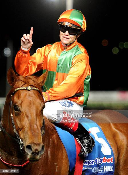 Craig Williams riding Tudor after winning Race 1 during Melbourne Racing at Moonee Valley Racecourse on September 26 2014 in Melbourne Australia