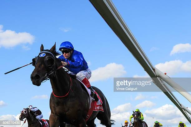 Craig Williams riding Unbreakable wins Race 7 during Melbourne Racing at Caulfield Racecourse on April 30 2016 in Melbourne Australia