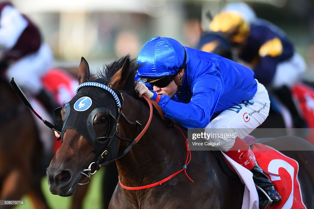 <a gi-track='captionPersonalityLinkClicked' href=/galleries/search?phrase=Craig+Williams+-+Jockey&family=editorial&specificpeople=4499103 ng-click='$event.stopPropagation()'>Craig Williams</a> riding Unbreakable wins Race 7 during Melbourne Racing at Caulfield Racecourse on April 30, 2016 in Melbourne, Australia.