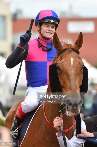 Craig Williams riding Vega Magic after winning New Zealand Bloodstock Memsie Stakes during Melbourne Racing at Caulfield Racecourse on September 2...