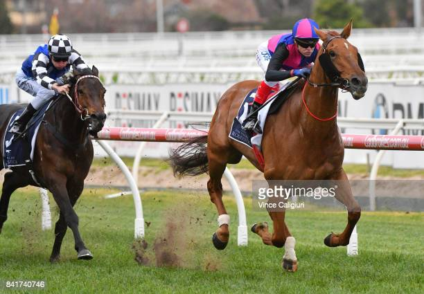 Craig Williams riding Vega Magic winning New Zealand Bloodstock Memsie Stakes during Melbourne Racing at Caulfield Racecourse on September 2 2017 in...