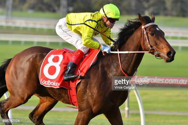 Craig Williams riding Yogi wins Race 7 during Melbourne Racing at Sandown Hillside on June 14 2017 in Melbourne Australia