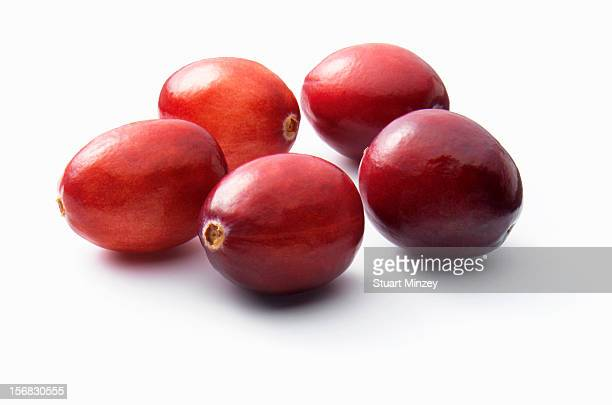 Cranberries on a white background