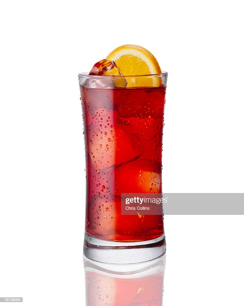 Cranberry Cocktail on the Rocks with an Orange Slice